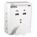 6-Outlet Wallmount Surge Protector with Dual-USB 3.1 Amp Charger & Device Holders