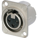 Neutrik NC3FD-LX-0-D 3-Pin Female XLR Panel/Chassis Mount Connector - Latchless - Nickel/Silver - 100 Pack
