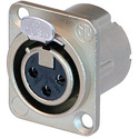 Neutrik NC3FD-LX-HA 3-Pin Female XLR Panel/Chassis Mount Connector - Crimp - Nickel/Silver