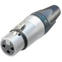 Neutrik NC3FXX-HE 3 Pole XLR-Female Velour Chromium Housing Gold Contacts