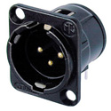 Neutrik NC3MD-H-B 3-Pin XLR Male Horizontal PCB Connector - Black/Gold