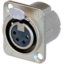 Neutrik NC4FD-LX 4-Pin XLR Female Panel/Chassis Mount Connector - Duplex Ground - Nickel/Silver