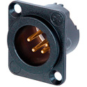 Neutrik NC4MD-LX-B 4-Pin XLR Male Panel/Chassis Mount Connector - Duplex Ground - Black/Gold