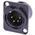 Neutrik NC4MD-L-B-1 4-Pin XLR Male Panel/Chassis Mount Connector - Black/Gold