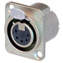Neutrik NC5FD-LX 5-Pin XLR Female Panel/Chassis Mount Connector - Duplex Ground - Nickel/Silver
