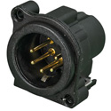 Neutrik NC5MBV-B 5-Pin XLR Male - Vertical PCB Mount Connector - Black/Gold