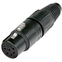 Neutrik NC6FSXX-B 6 Pole Female Cable Connector with Black Metal Housing and Gold Contacts