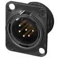 Neutrik NC6MD-L-B-1 6-Pin XLR Male Panel Mount Connector - Black/Gold