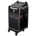 Odyssey Cases FZ1016W ATA Combo Rack - 10U Slant 16U Vertical with Wheels