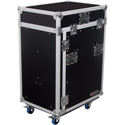 Odyssey FZ1316WDLX Deluxe Pro Combo Rack Case with Wheels and One Side Table - 13U Top Rack & 16U Bottom Rack