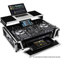 Odyssey FZGSPRIME4W2 Denon Prime 4 Flight Case with Patented Glide Laptop Platform and 2U Rack Spaces SILVER