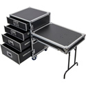 Odyssey FZWB4WDLX Four Drawer Deluxe Workbox with Wheels and Side Table