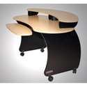 OmniRax Nova Compact A/V Desk w/Maple Melamine Surface Black Cabinets