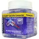Platinum Tools 202003J EZ-RJ45 CAT5 / 5e Connectors for Solid or Stranded Conductors - Jar of 100