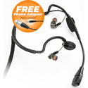 Point Source Audio CM-i3-4FxPH In-Ear Headset w/Dynamic Mic - 4-Pin Female XLR for Clear-Com w/Free 3.5mm TRRS Adapter