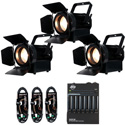 ADJ PRESENTER BASIC STREAM PAK 3x LED Light Pack with Stands/Barndoors/Cables & DMX Control