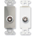 RDL DS-BNC/D Insulated Double BNC Jack on Decora Wall Plate - Stainless steel