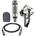 Electro-Voice RE27ND Mic with 309A Suspension Mount WT20421-01 Foam Windscreen and XLM-XLF-15 15ft Mic Cable Kit