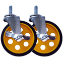RocknRoller RCSTR5X125 5 Inch G-force Caster with Brake for R8/R10 - 2 Pack - Yellow Hub