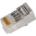 Simply45 S45-1550 Shielded Internal Ground PassThru RJ45 Mod Plugs For Solid Cat5e STP/Stranded Cat5e/6/6a STP - 50pc
