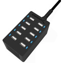 Sabrent AX-TPCS 60 Watt (12 Amp) 10 Port Desktop Smart USB Rapid Charger - Black