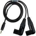 Sescom SES-BMS-FR-3 Blackmagic Studio Camera to Zoom/Tascam/Roland Audio Cable Dual Right-Angle 3-Pin XLR Male to 3.5mm