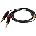 Sescom SES-IPOD-QTRM03 Audio Y-Cable 3.5mm TRS Balanced Male to Dual 1/4 TS Mono Male - 3 Foot