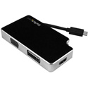 Startech CDPVGDVHDB Travel A/V Adapter: 3-in-1 USB-C to VGA DVI or HDMI - 4K