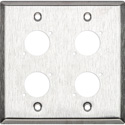 Switchcraft WP2S4 Wall Plate - 2 Gang - 4 E/EH Connector Hole - Non-Threaded Mounting Holes - Stainless Steel Finish