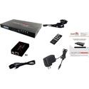 Avenview SW-HBT-C6IRLT-4X4E HDMI HDBaseT Lite Matrix Switch 4X4 CAT5e/6/7 - 3D Support & Bi-Directional IR w/ 4 RXs