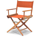 Table Height Directors Chair Natural Wood Frame with Orange Canvas