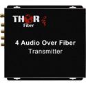 Thor Fiber F-4A-RCA-TXRX 4 Audio Fiber Optic Transmitter/Receiver Kit - 20Km Single Mode Fiber - 3000 Feet Multimode