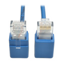 Tripp Lite N201-SR1-BL Cat6 Gigabit Snagless Molded Slim UTP Patch Cable - Right-Angle Connectors (RJ45 M/M) Blue 1 foot
