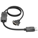 Tripp Lite P581-003-VGA-V2 DisplayPort 1.2 to VGA Active Adapter Cable DP - Latches to HD15 (M/M) 1920x1200/1080p 3 Feet