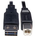 Tripp Lite UR022-001 Universal Reversible USB 2.0 Hi-Speed Cable (Reversible A to B M/M) 1 Feet
