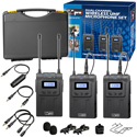 Vidpro XM-WTTR Dual Channel UHF Wireless Lavalier Microphone Set with 2 Transmitters and 1 Receiver