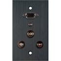 My Custom Shop WPBA-1157-FT 1-Gang Black Anodized Wall Plate-15-Pin HD Female Barrel /2 RCA Barrels/1 Mini Barrel/1 BNC