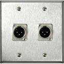 My Custom Shop WPBA-2120-COMBO 2-Gang Black Anodized Wall Plate w/ Neutrik XLRM and XLF 3 Pin