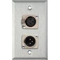 My Custom Shop WPL-1113-COMBO 1-Gang Stainless Steel Wall Plate w/ Neutrik Single 3-Pin XLR-M & Single XLR-F