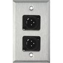 My Custom Shop WPL-1114-BG 1-Gang Stainless Steel Wall Plate w/ 2 Neutrik NC3MD-L-1-B Connectors