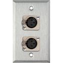 My Custom Shop WPL-1116-TB 1-Gang Stainless Wall Plate w/ 2 Neutrik 3-Pin Female XLR to Terminal Block