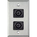 My Custom Shop WPL-1124 1-Gang Stainless Steel Wall Plate w/ Two 4-Pole speakON Male Connectors