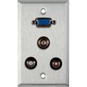 My Custom Shop WPL-1127 1-Gang Stainless Steel Wall Plate w/ 1 HD15 VGA/2 RCA Barrels & 1 BNC Barrel