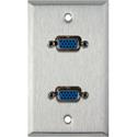 My Custom Shop WPL-1137 1-Gang Stainless Steel Wall Plate w/ 2 HD 15-Pin Female Rear Solder Connectors