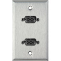 My Custom Shop WPL-1139 1-Gang Stainless Steel Wall Plate w/ Two VGA HD 15-Pin Female Barrels