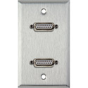 My Custom Shop WPL-1145 1-Gang Stainless Steel Wall Plate w/ Two 15-Pin Female Rear Solder Connectors
