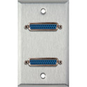 My Custom Shop WPL-1151 1-Gang Stainless Steel Wall Plate w/ Two 25-Pin D-Sub Female Barrels