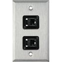 My Custom Shop WPL-1153-6E 1-Gang Stainless Steel Wall Plate w/ 2 CAT6 RJ45 Feedthrus