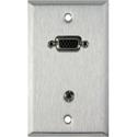My Custom Shop WPL-1154 1-Gang Stainless Steel Wall Plate w/ 15-Pin HD Female Barrel & Stereo Mini Jack