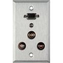 My Custom Shop WPL-1157 1-Gang Stainless Steel Wall Plate w/ 15-Pin HD Female Barrel /2 RCA Barrels/1 Mini Jack/1 BNC